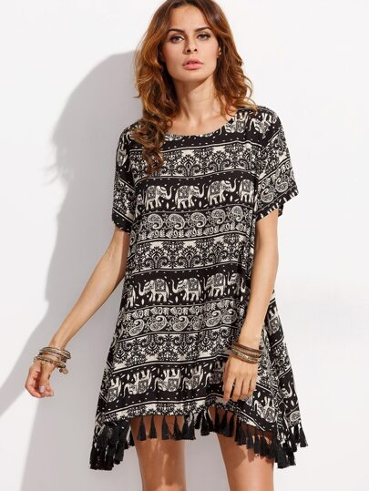 Black Tassel Trim Tribal Print Dress