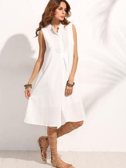 White Band Collar Braided Tape Trim Dress
