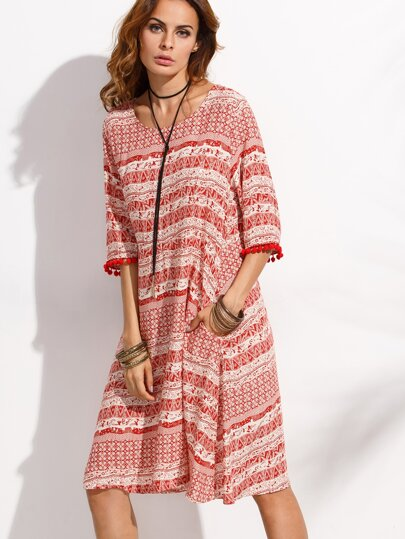 Red Tribal Print Pom Pom Trim Dress