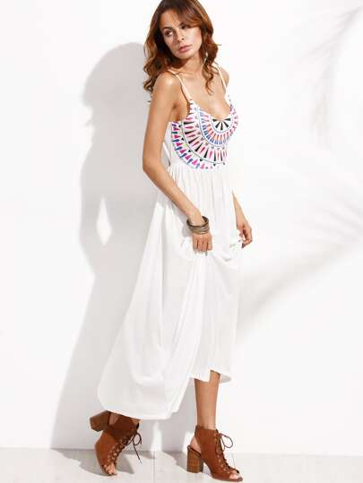 White Geometric Print Cutout Cami Dress