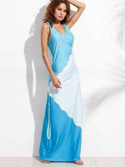 Color Block Ruched Maxi Tank Dress