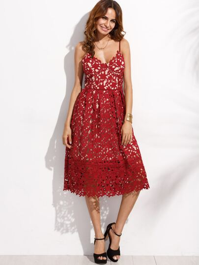 Red Embroidered Lace Overlay Cami Dress
