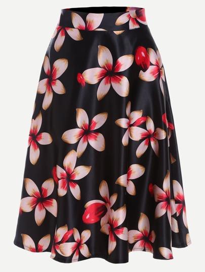 Black Flower Print A Line Skirt