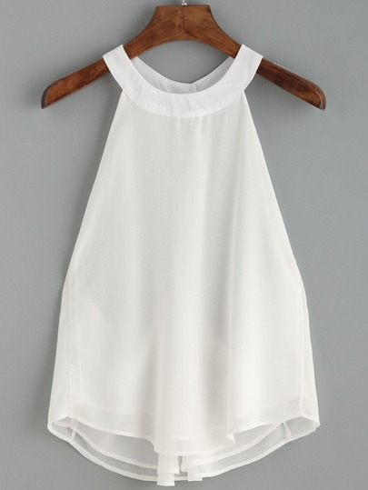 White Ring Accent Racerback Halter Neck Chiffon Top