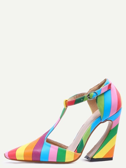 Multicolor Pointed Toe Buckle T-strap Chunky Pumps