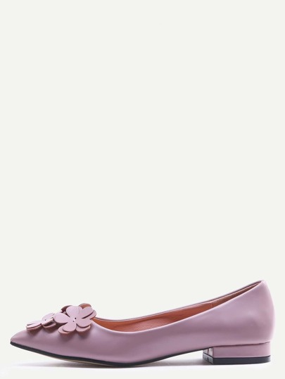 Pink Pointed Toe Flower Decorated Flats