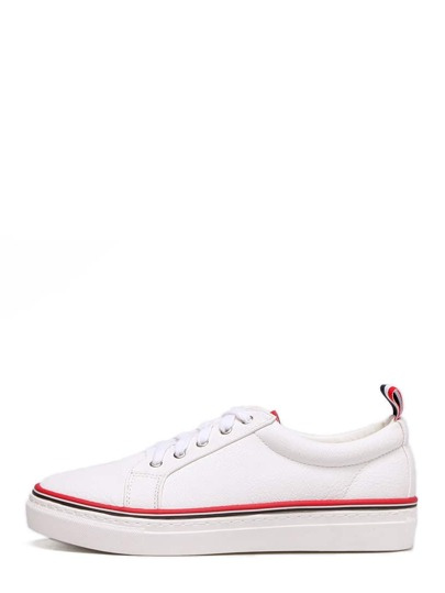 White Lace-up Contrast Trim Thick-soled Sneakers