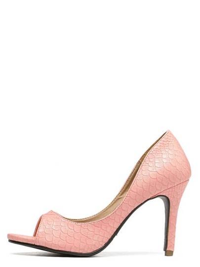 Zapatos de tacón aguja piel serpiente - rosa