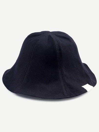 Black Casual Collapsible Cotton Bucket Hat