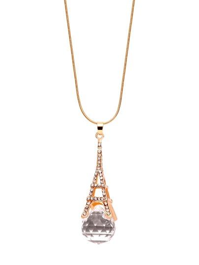 Rhinestone Eiffel Tower Shaped Pendant Necklace