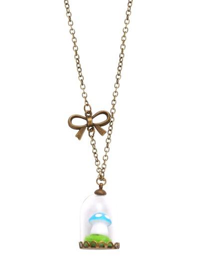 Cute Mushroom Glass Shade Pendant Necklace