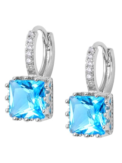 Blue Square Zircon Earrings