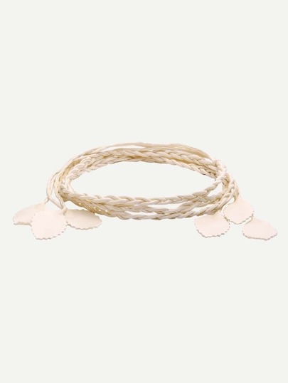 Beige Leaf Shaped Braided Waist Rope