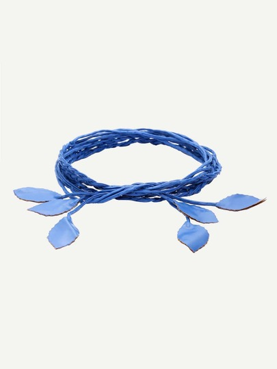 Royal Blue Leaf Shaped Braided Waist Rope