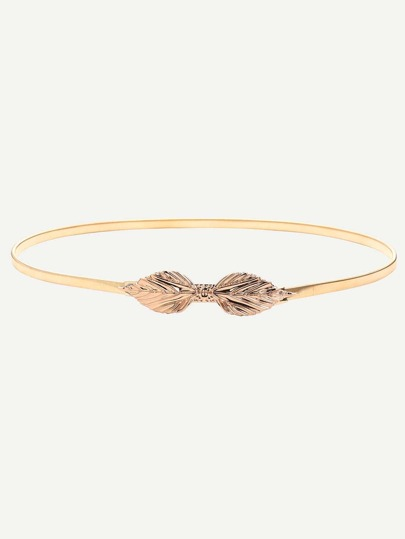 Golden Leaf Shaped Buckle Thin Belt