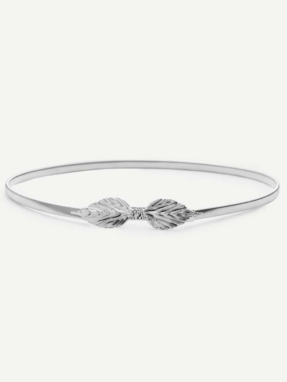 Silver Leaf Shaped Buckle Thin Belt
