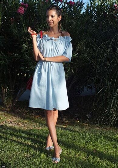 Light Blue Pocket Tie Cold Shoulder Dress