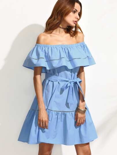 Blue Tie Waist Hollow Insert Ruffle Off The Shoulder Dress
