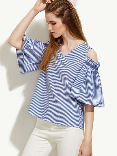 Blue Striped V Neck Cold Shoulder Blouse