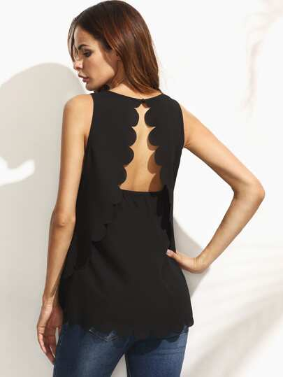 Black Slit Back Scallop Trim Sleeveless Blouse
