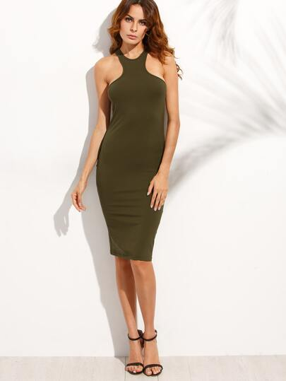 Army Green Racer-back Sleeveless Sheath Dress