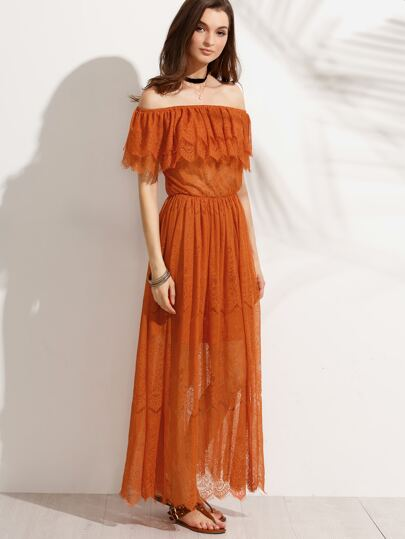 Brown Ruffle Off The Shoulder Long Dress
