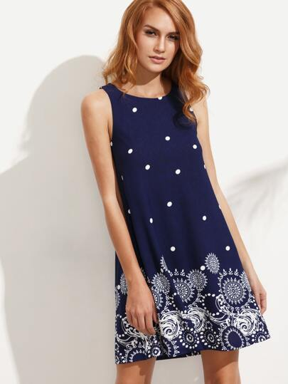 Multicolor Print Polka Dot Sleeveless A-line Dress
