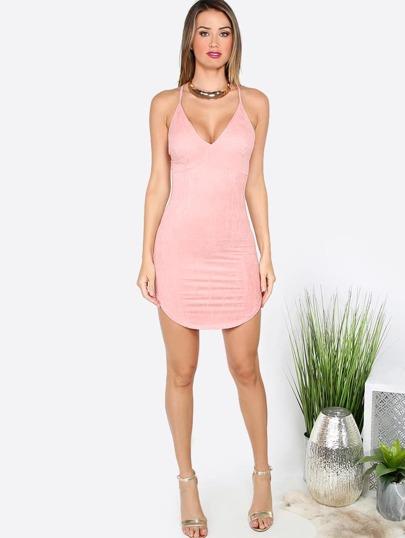 Pink Crisscross Back Dolphin Hem Sleeveless Bodycon Dress