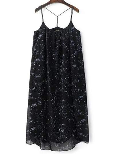 Black Spaghetti Strap Starry Sky Printed Dress