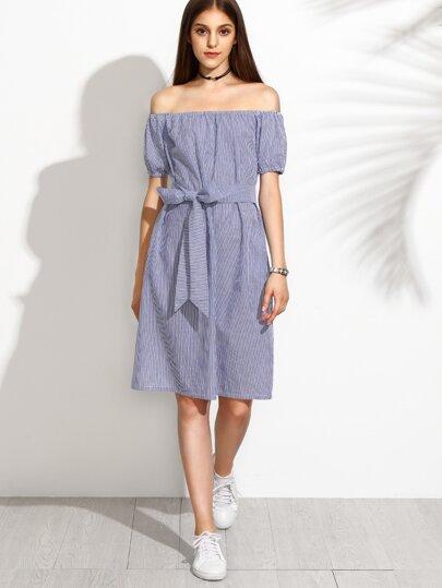 Blue Off The Shoulder Elastic Cuff Stripe Bow Tie Dress