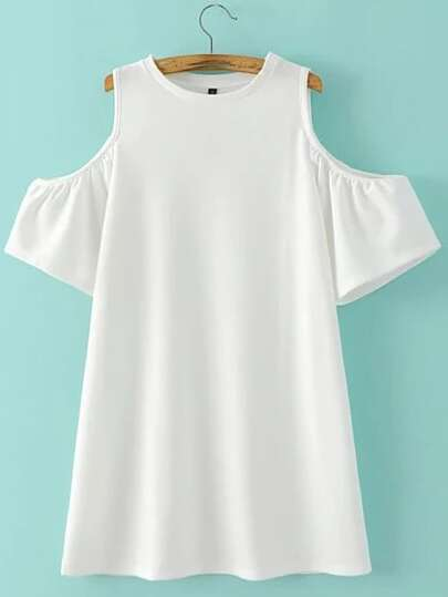 White Cold Shoulder Plain A-line Dress