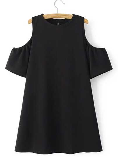 Black Cold Shoulder Plain A-line Dress