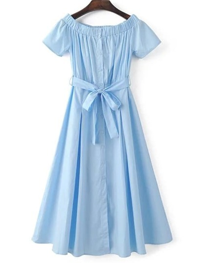 Blue Off The Shoulder Pleated Dress With Sashes