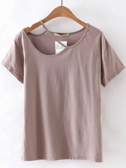 Pink Cutout Plain T-shirt