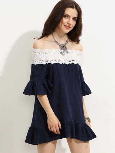 Navy Appliques Contrast Off The Shoulder Ruffle Dress