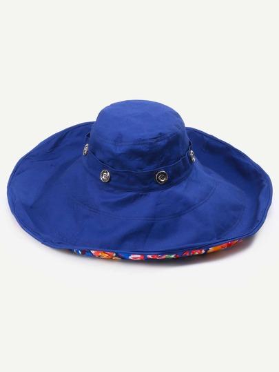 Royal Blue Floral Liner Large Brimmed Hat