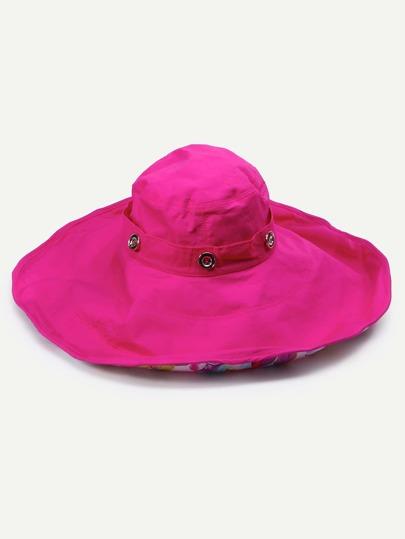 Hot Pink Floral Liner Large Brimmed Hat