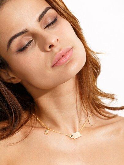 Golden Elephant Pendant Necklace