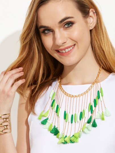 Multilayer Tassel Pendant Statement Necklace