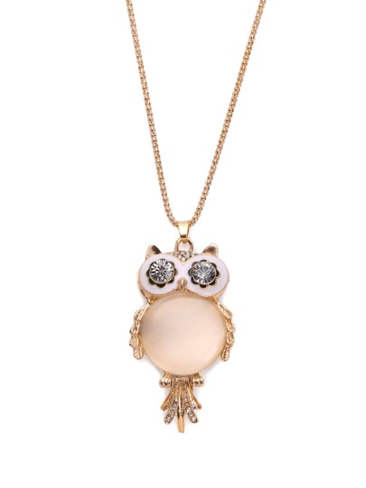 Cymophane Owl Shaped Pendant Necklace