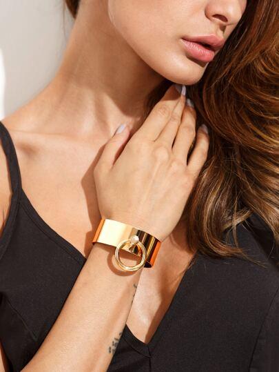 Golden Minimalist Geometric Open Cuff Bracelet