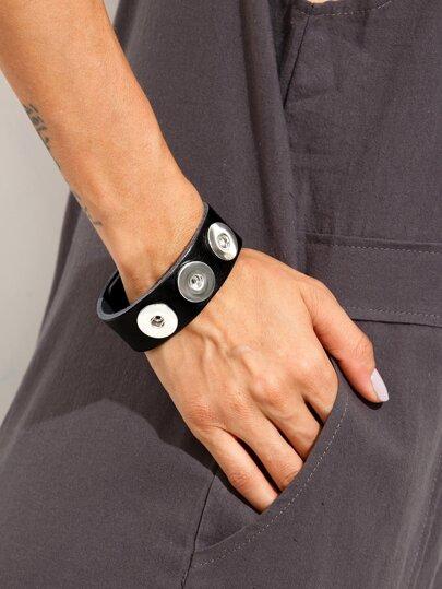 Black Leather Metal Bracelet