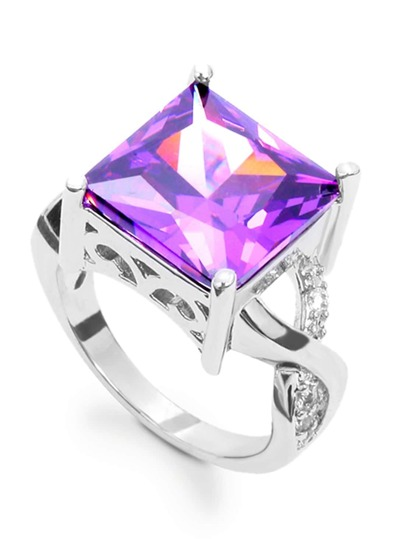 Geometric Zircon Ring