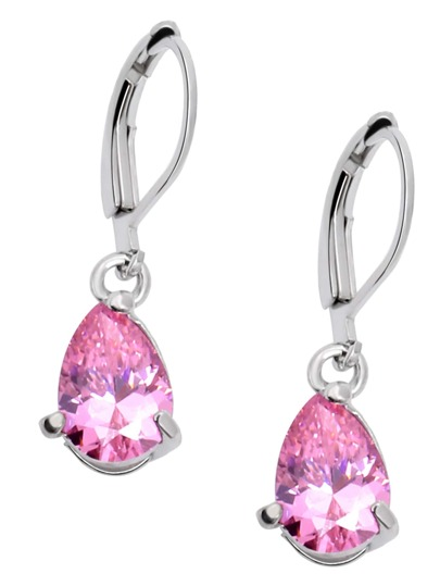 Pink Zircon Drop Earrings