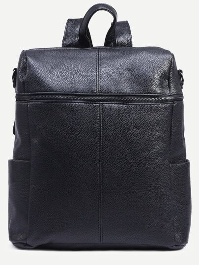 Black Pebbled Faux Leather Zip Front Backpack