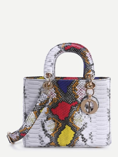 Multicolor Snake Embossed Handbag With Strap