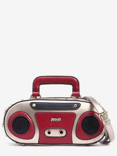 Gold Retro Radio Shaped Handbag With Strap