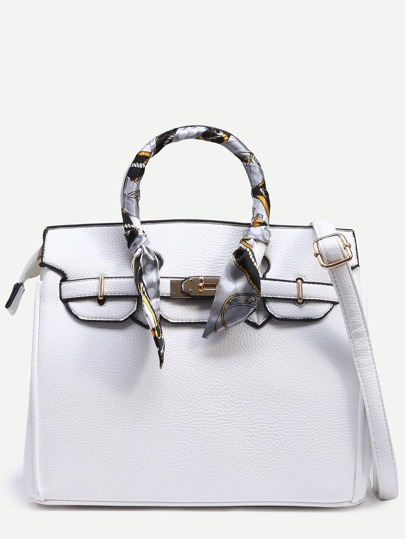 White Pebbled Faux Leather Turnlock Strap Closure Satchel Bag