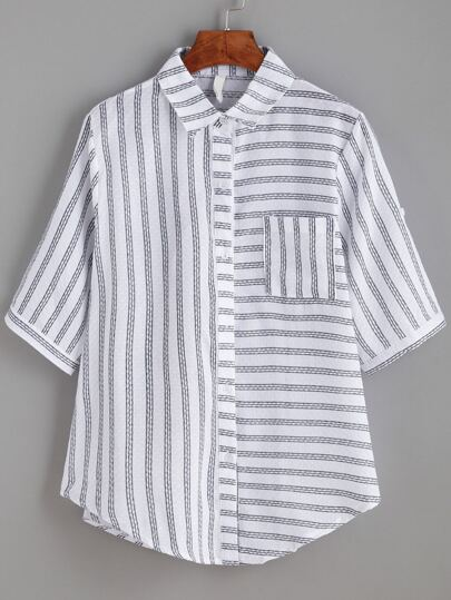 White Mixed Stripe Blouse With Pocket