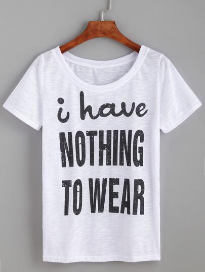 White Letter Print T-shirt